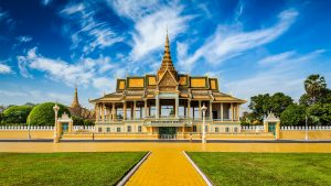 Front View of Royal Palace in Phnom Penh, Cambodia, included tours offered by Asia Vacation Group