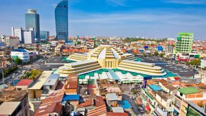 Aerial view of Center Market in Phnom Penh, Cambodia, offered in a tour with Asia Vacation Group