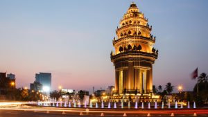 Independence Monument during sunset in Phnom Penh in Cambodia, included in tours offered with Asia Vacation Group