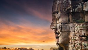 Bayon stone faces in Siem Reap, Cambodia, included in tours offered by Asia Vacation Group