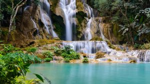 Khuangsi Waterfall in Luang Prabang, Laos, included in tours offered by Asia Vacation Group