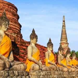 Buhdda statues at Ayutthaya in Bangkok, Thailand, included in tours offered by Asia Vacation Group