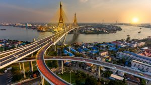 Sunsen view with Bridge in Bangkok, Thailand, included in tours offered by Asia Vacation Group