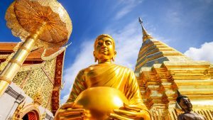 Buhdda Statue at Wat Phra That Doi Suthep in Chiang Mai Thailand, included in tours offered by Asia Vacation Group