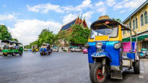 Blue Tuk Tuk Taxi in Thailand, included in tours offered by Asia Vacation Group