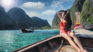 charming lady on a boat in Phiphi island, Thailand, included in tours offered by Asia Vacation Group