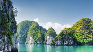 Rock formations at Halong Bay, included in tours offered by Asia Vacation Group