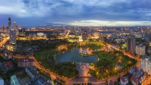 Aerial view of Cau Giay Hanoi Vietnam, offered in a tour with Asia Vacation Group
