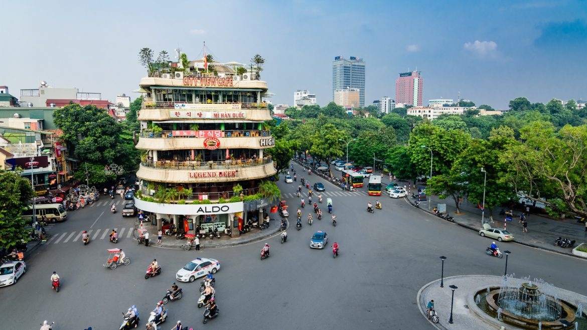 Shark Jaw corner near Hoan Kiem Lake, Hanoi, Vietnam, included in tours offered by Asia Vacation Group