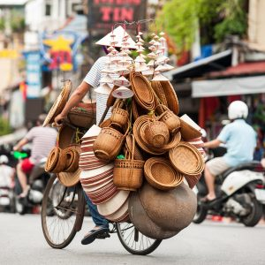 Vietnam Hanoi Street Vendor Selling Straw Hat