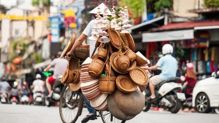 Vietnam Hanoi Street Vendor Selling Straw Hat