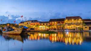 Vietnam Hoi An sunset by the river