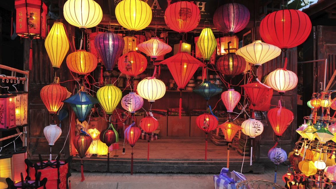 Lantern shop in Hoian, Vietnam, included in tours offered by Asia Vacation Group