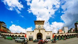 Fisheyed front view of Ben Thanh market in Saigon, Vietnam, included in tours offered by Asia Vacation Group