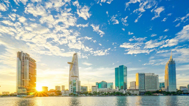 Saigon city scene sunrise