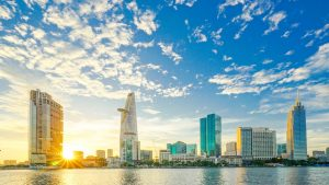 Saigon city scene sunrise
