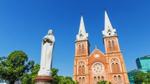 Front of Notre Dame Church in Saigon, Vietnam, included in tours offered by Asia Vacation Group