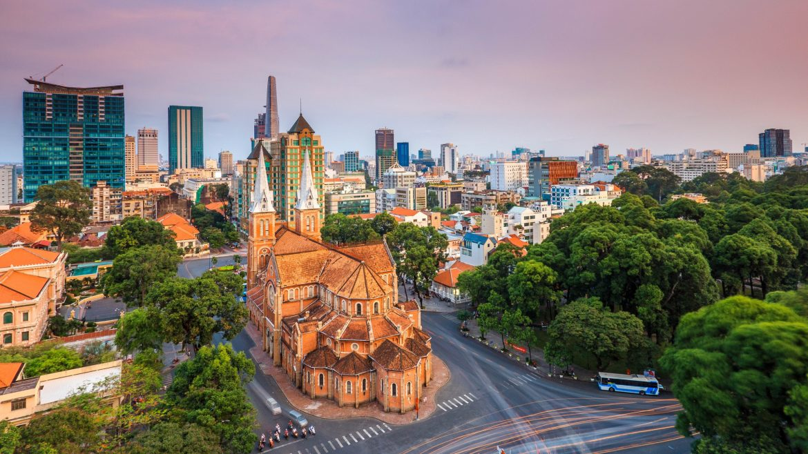 Aerial view of Notre Dame Church in Saigon, Vietnam, included in tours offered by Asia Vacation Group