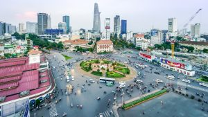 Aerial view of rush hour on Saigon street, Vietnam, included in tours offered by Asia Vacation Group